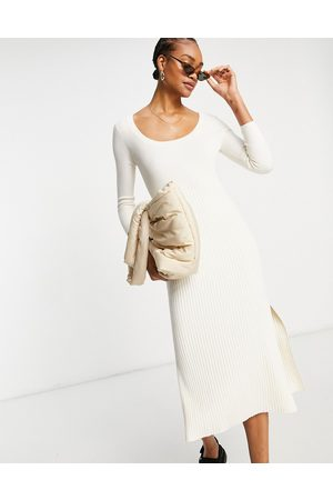 & OTHER STORIES Ecovero long sleeve knitted midi dress in off