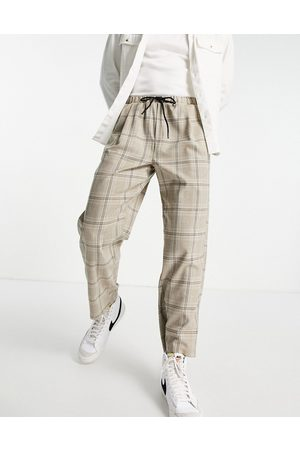 Vintage Supply Men Joggers - Pleated check joggers in -Neutral