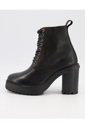 ASOS DESIGN Men Boots - Heeled lace up boots in leather on platform sole