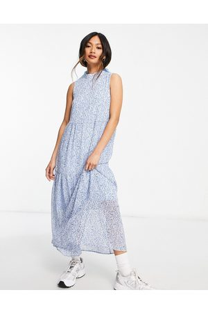 Vero Moda Aware sleeveless midi dress in blue ditsy floral-Multi