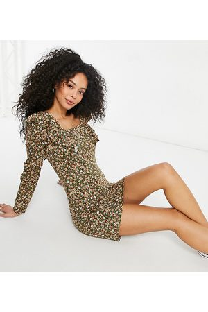 ASOS Women Casual Dresses - Tall mini long sleeve with frill detail dress in khaki base floral