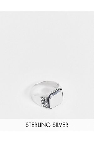 ASOS DESIGN Men Rings - Sterling signet ring with textured edge in burnished