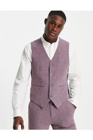 ASOS Wedding super skinny suit waistcoat in crosshatch in wine twist