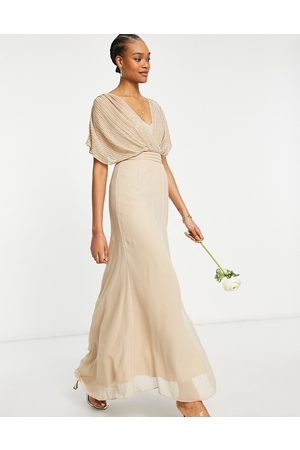 ASOS Bridesmaid linear embellished blouson maxi dress with short sleeve-Neutral