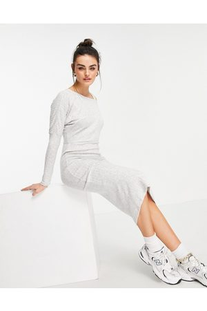River Island Asymmetric cosy rib knit midi dress in