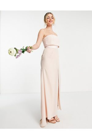 ASOS Bridesmaid bandeau layered maxi dress with pleated wrap skirt