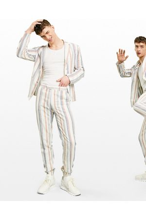 ASOS Men Formal Pants - Soft tailored linen slim suit trousers multi stripe in and blue