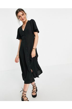 ASOS Button through tie back midi tea dress with angel sleeve in