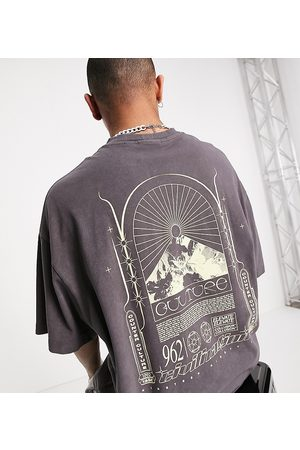 COLLUSION Oversized t-shirt with print in acid wash pique in charcoal