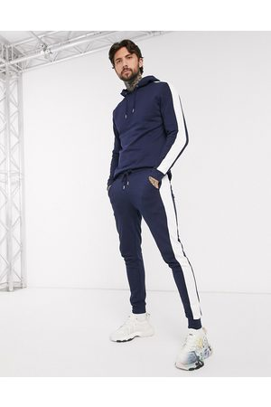 ASOS Organic tracksuit with hoodie & side stripe in navy