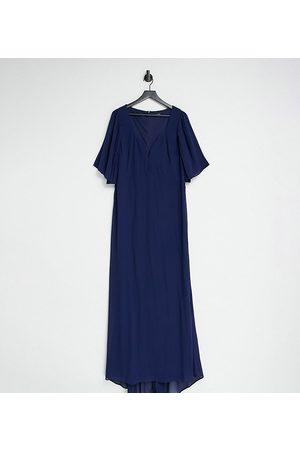 TFNC Bridesmaid sweetheart neck flutter sleeve maxi dress in navy
