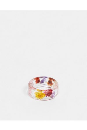 ASOS Ring with colourful flowers in clear plastic resin-Multi