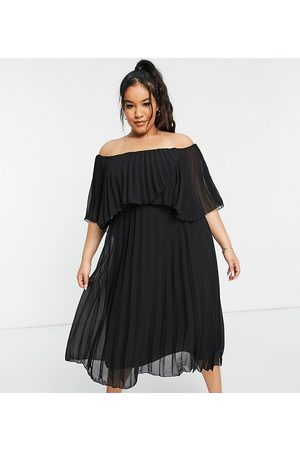 ASOS ASOS DESIGN Curve pleated bandeau midi dress with double layer in