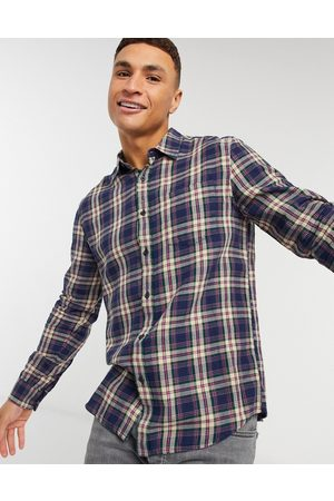 Topman Check shirt in navy and purple