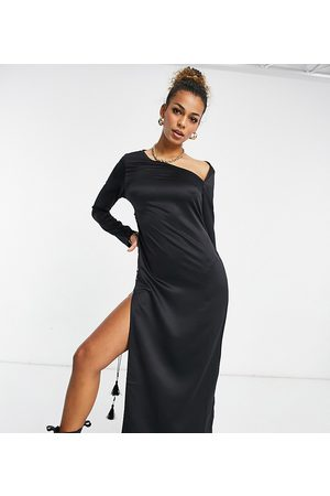 AsYou Cut out lace up side split maxi dress in