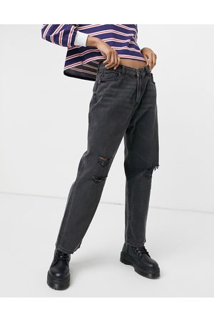 Noisy May Brooke dad jeans with rips in washed denim