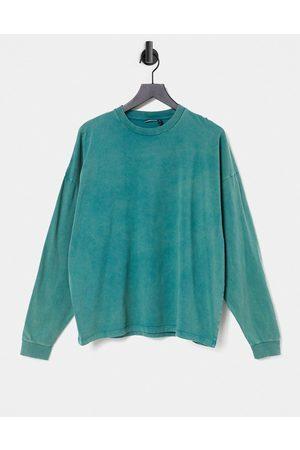 ASOS Oversized boxy long sleeve t-shirt with acid wash in