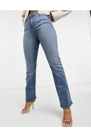 ASOS High rise '00s' stretch flare jeans in vintage midwash