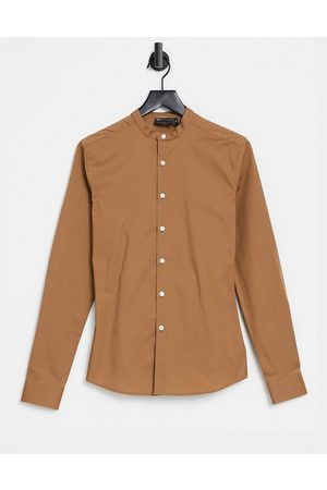 ASOS Men Shirts - Skinny fit shirt with grandad collar in light
