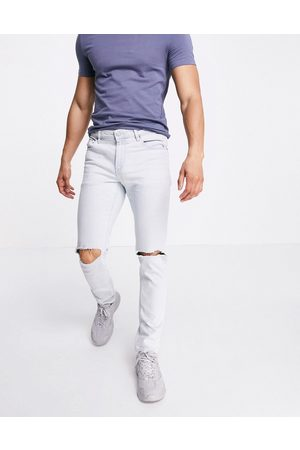 ASOS Stretch slim jeans in flat light wash with knee rips