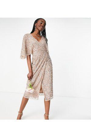 Maya Bridesmaid delicate sequin wrap midi pencil dress in taupe blush