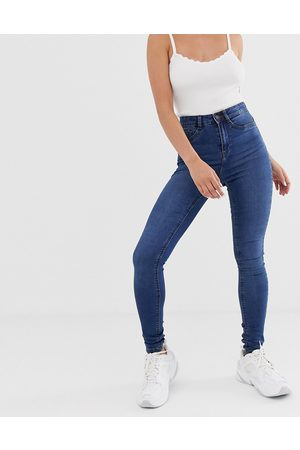 Noisy May Callie high waisted skinny jeans in mid wash