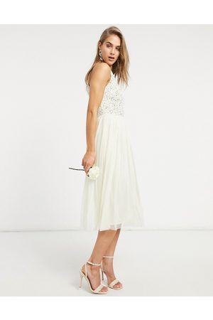 Maya Bridal halter neck midi tulle dress with tonal delicate sequin in ecru