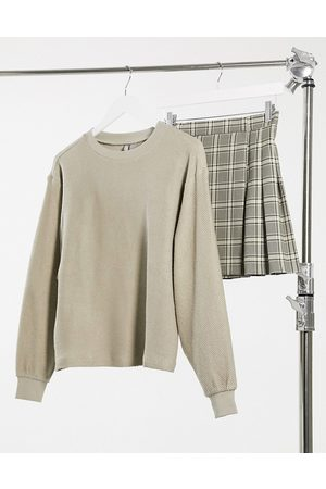 ASOS DESIGN Oversized sweatshirt in textured fabric in taupe-Neutral