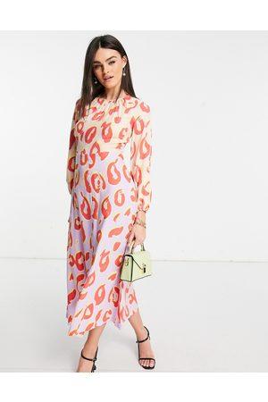 Closet Women Casual Dresses - Long sleeve spot print midaxi dress in contrast pastel-Multi