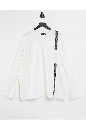 ASOS Men Long Sleeve - Oversized long sleeve t-shirt in with pocket and tape