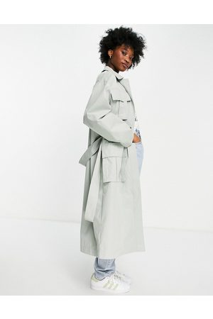 ASOS Luxe oversized trench coat with pocket detail in sage