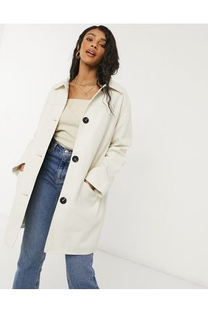 ASOS Oversized faux leather quilt lined shacket in cream