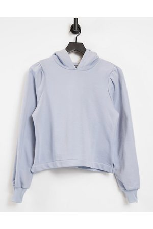 Pieces Hoodie with pleated shoulder in pale blue