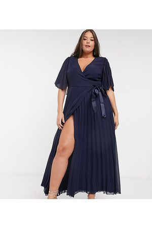 ASOS Curve exclusive maxi dress with kimono sleeve and tie waist in pleat