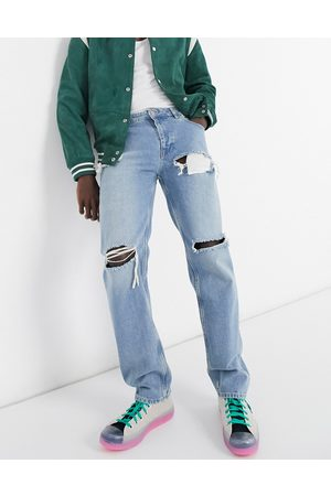 ASOS Original fit jeans in stone wash with heavy rips
