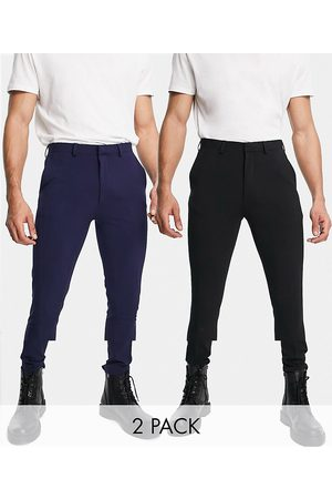 ASOS Super skinny smart trouser multipack in black & navy