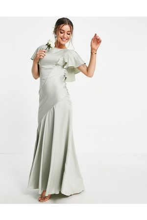 ASOS Bridesmaid flutter sleeve satin maxi dress with button side detail