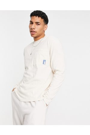 ASOS Actual Oversized long sleeve t-shirt in wash with logo detail-Neutral