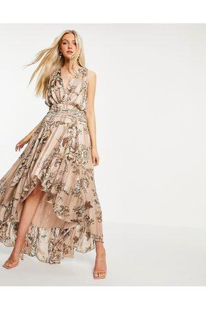 ASOS Satin stripe printed maxi dress with macramé satin lace up-Multi