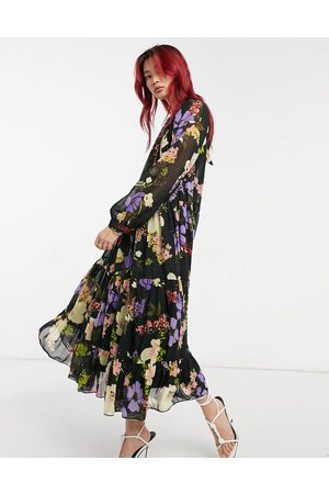 ASOS High neck tiered maxi dress in bold floral-Multi