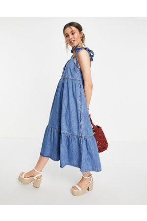 ASOS Soft denim tiered midi dress in midwash