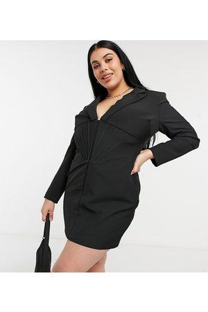 Lavish Alice Women Evening Dresses - Corset detail blazer dress in