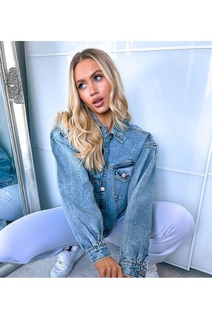 Missguided Denim jacket with balloon sleeve in washed
