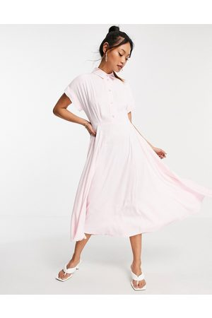 Closet Short fold sleeve shirt midi dress with crystal buttons in