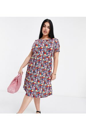 Simply Be Jersey smock dress in pink floral print-Multi