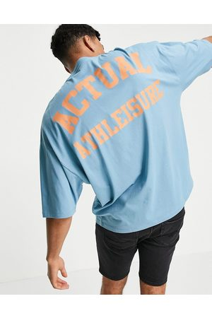 ASOS Actual Athleisure oversized t-shirt in with chest and back printed logo