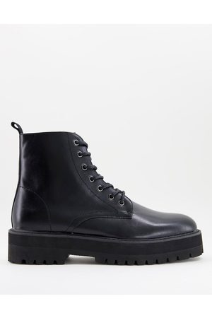 ASOS DESIGN Lace up boot in faux leather with raised chunky sole
