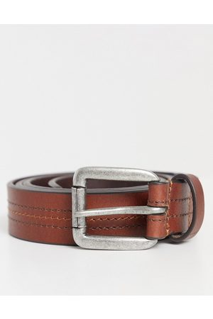 ASOS DESIGN Leather slim belt in tan with stitch detail and silver roller buckle