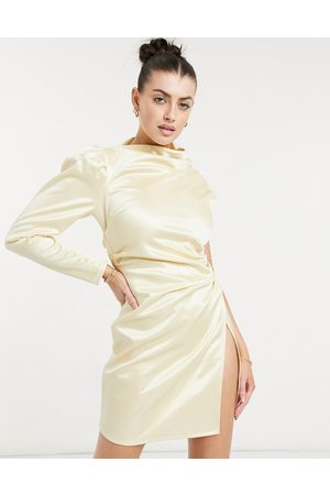 ASOS One shoulder tuck wrap mini dress in champagne