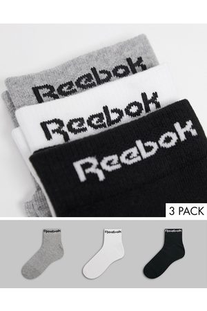 Reebok Training core 3 pack ankle socks in black white and grey-Multi